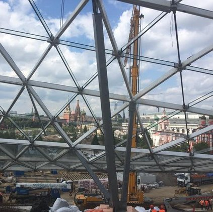 Glass Beams Installed At Zaryadye Park Steel Glass Grid
