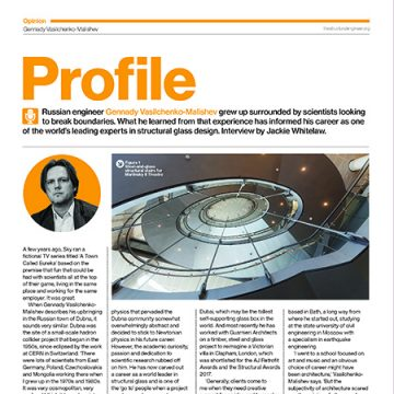 Malishev profile in The Structural Engineers magazine