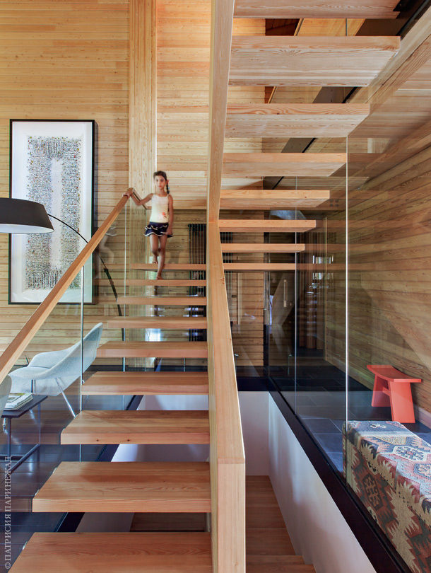 glue laminated wood and glass stair