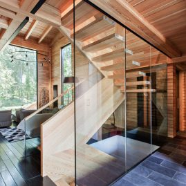 wood and glass stair